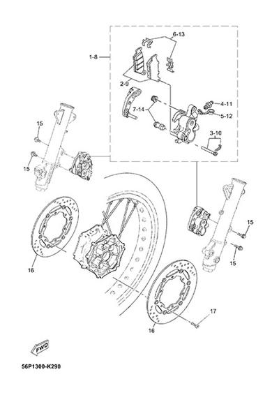 Yamaha XT660Z Tenere ABS 2015 FRONT BRAKE CALIPPER