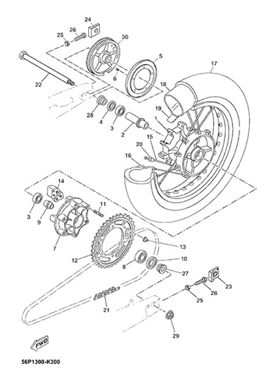 Yamaha XT660Z Tenere ABS 2015 REAR WHEEL