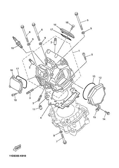 Yamaha XT660Z Tenere ABS 2015 CYLINDER HEAD