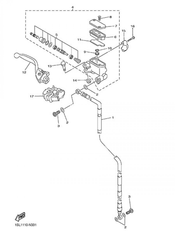 FRONT MASTER CYLINDER Yamaha YZ450F 2014