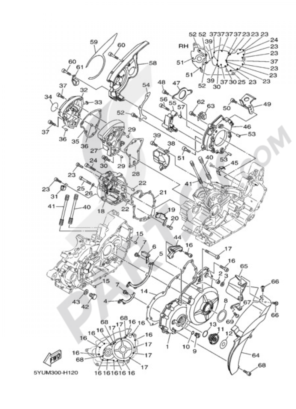 CRANKCASE COVER 1 Yamaha MT-01 2009