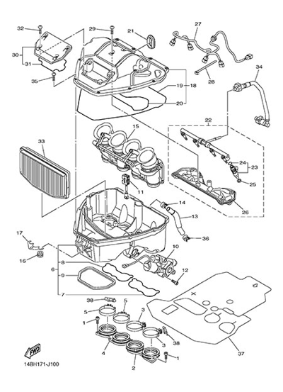 Yamaha Yzf R1 2013 Dissassembly Sheet Purchase Genuine Spare Parts