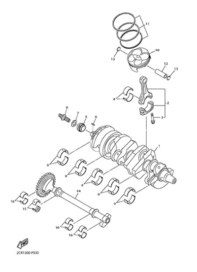 Yamaha YZF-R1M 2015 CRANKSHAFT & PISTON