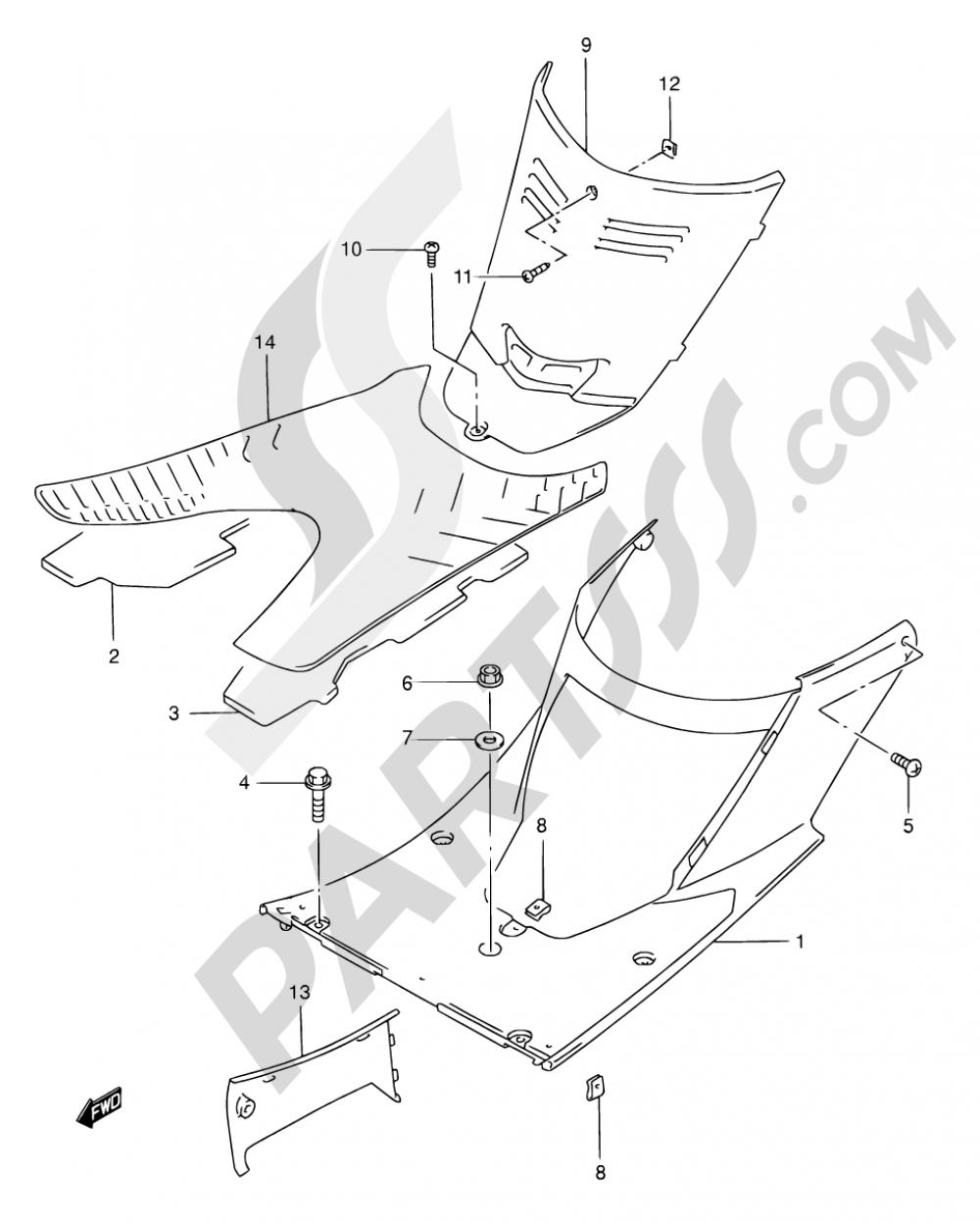 35 - REAR LEG SHIELD (MODEL S/T/V/W) Suzuki AN125 1998