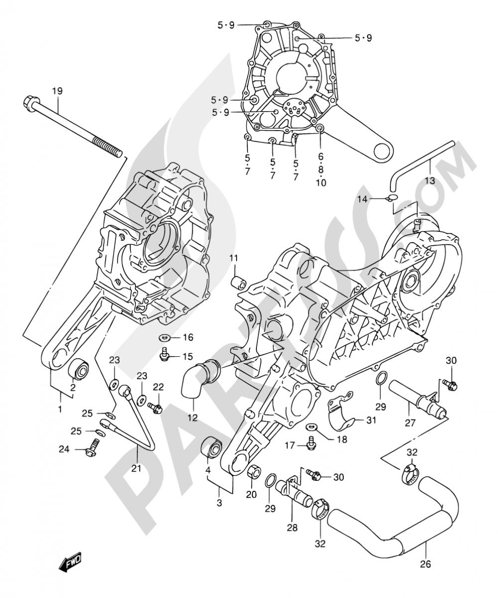 4 - CRANKCASE Suzuki AN125 1999