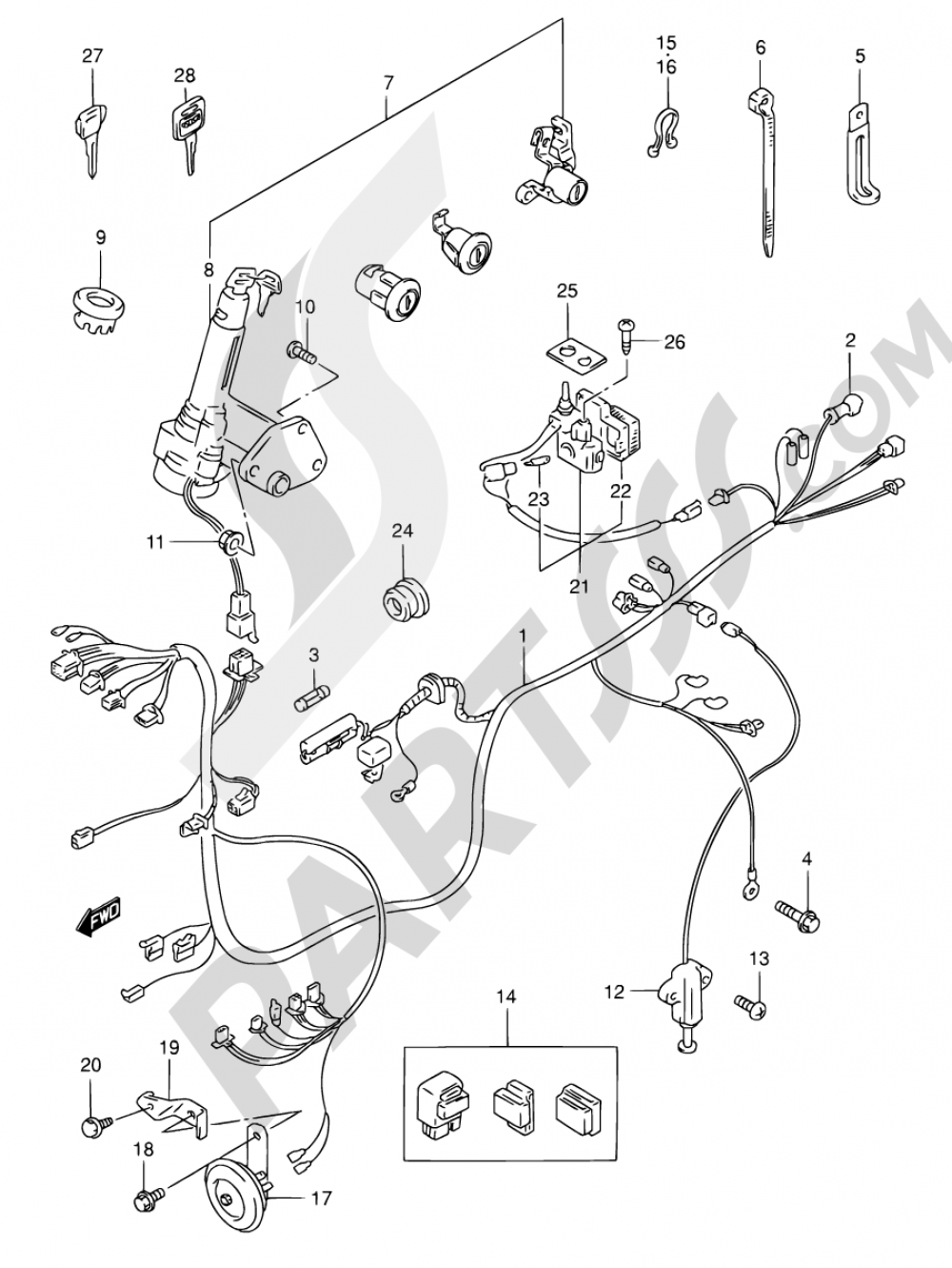 26A - WIRING HARNESS (MODEL Y) Suzuki AN125 2000