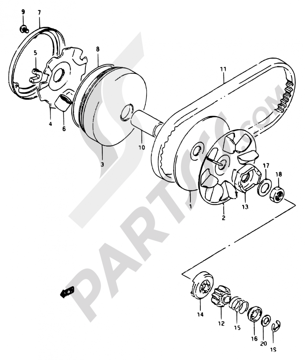 10 - TRANSMISSION (1) Suzuki ADRESS AP50 1994
