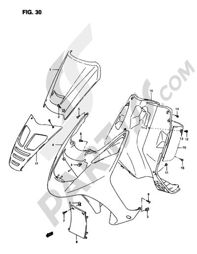 Suzuki ADRESS AP50R7 1998 30 - FRONT LEG SHIELD