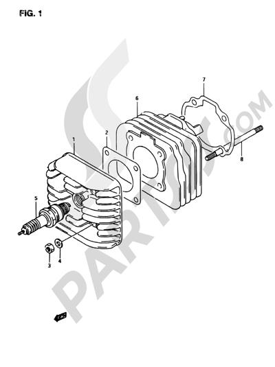 Suzuki ADRESS AP50R7 1998 1 - CYLINDER