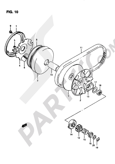 Suzuki ADRESS AP50R7 1998 10 - TRANSMISSION (1)