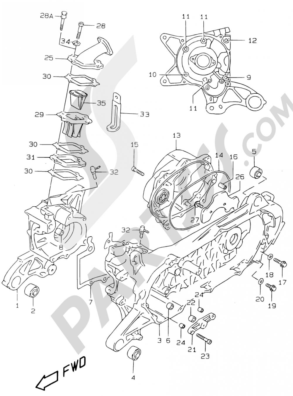2 - CRANKCASE (MODEL AY50W/WR V/W/X/Y) Suzuki KATANA AY50 1998