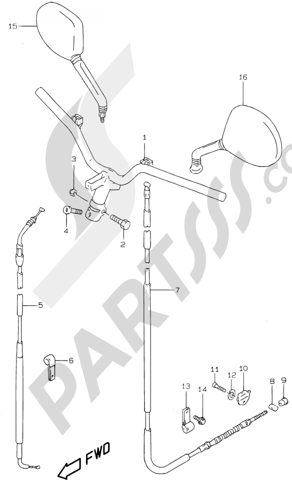 34 - HANDLEBAR (MODEL V/W  AND MODEL AY50 X/Y/K1) Suzuki KATANA AY50 2000