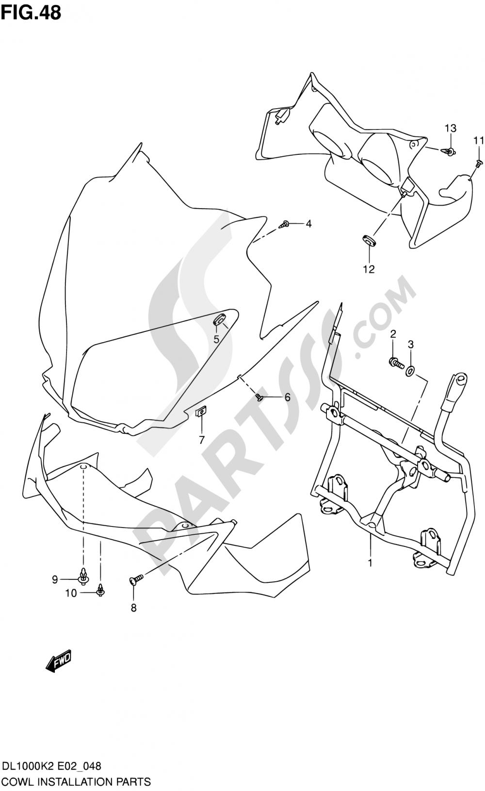 48 - COWL BODY INSTALLATION PARTS (MODEL K2/K3) Suzuki VSTROM DL1000 2002