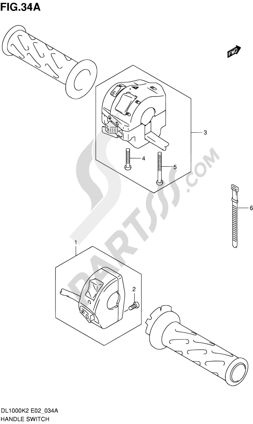 34A - HANDLE SWITCH (MODEL K3/K4) Suzuki VSTROM DL1000 2003