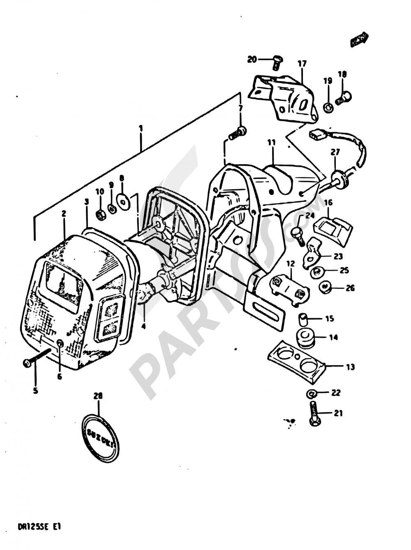 28 - REAR COMBINATION LAMP (E02, E18) Suzuki DR125S 1983