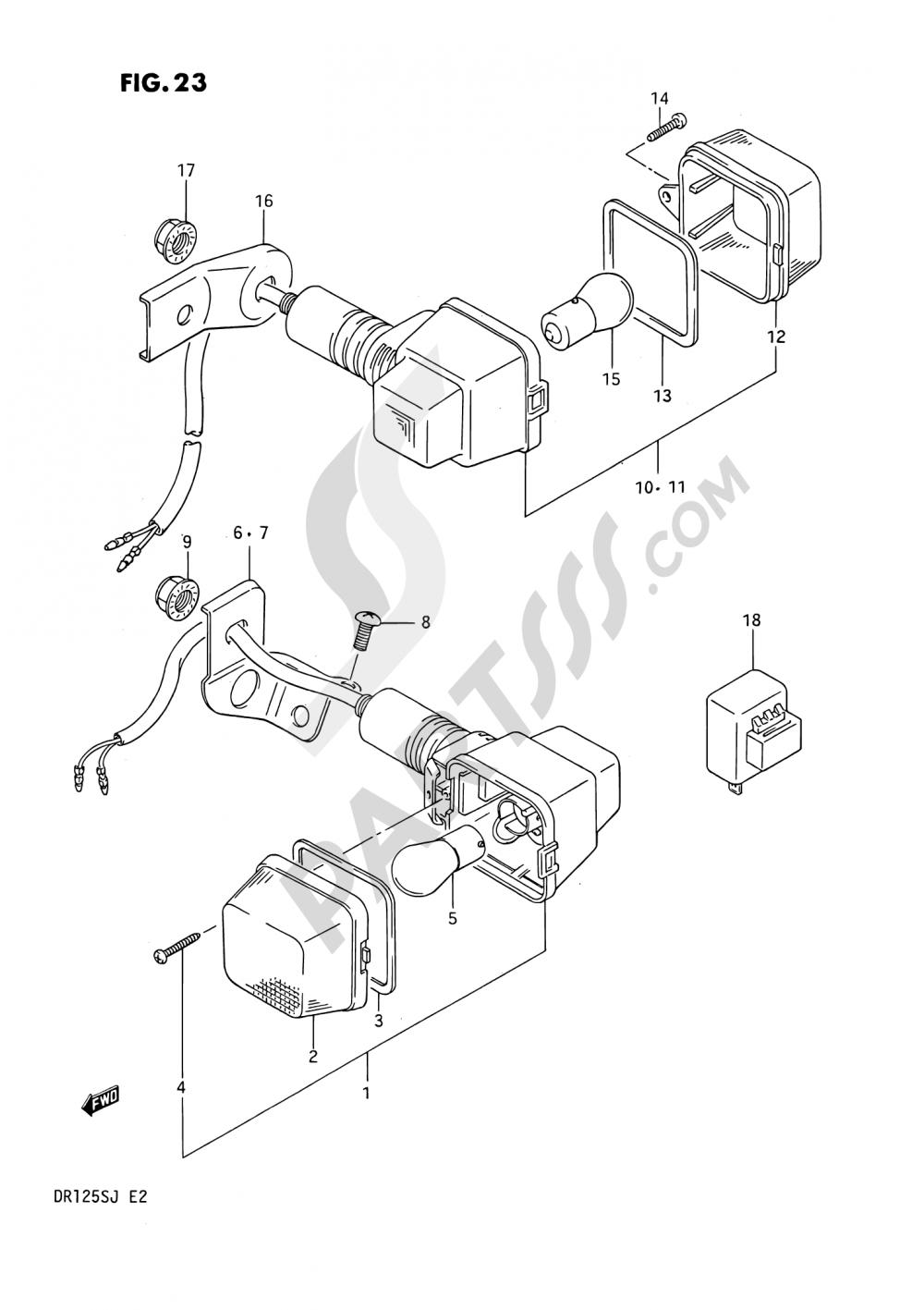 23 - TURN SIGNAL LAMP (E01, E24, E04 ~F.NO.106478) Suzuki DR125S 1987