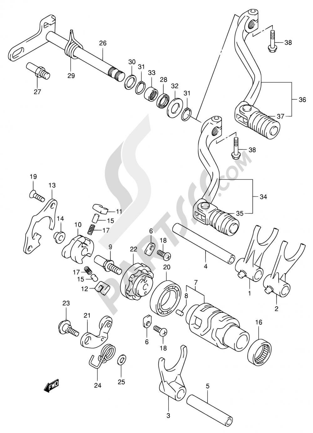 21 - GEAR SHIFTING (NOTE) Suzuki DR-Z400 2000