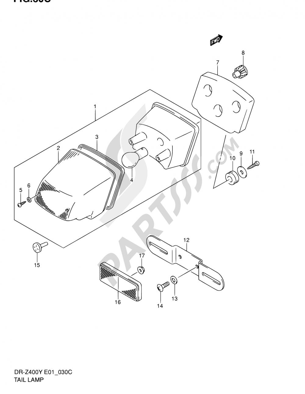 30C - TAIL LAMP (DR-Z400EY/EK1/EK2/EK3/EK4 E24) Suzuki DR-Z400E 2002