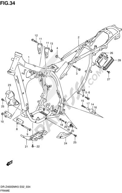 Suzuki DR-Z400SM 2007 Dissassembly sheet. Purchase genuine spare ...