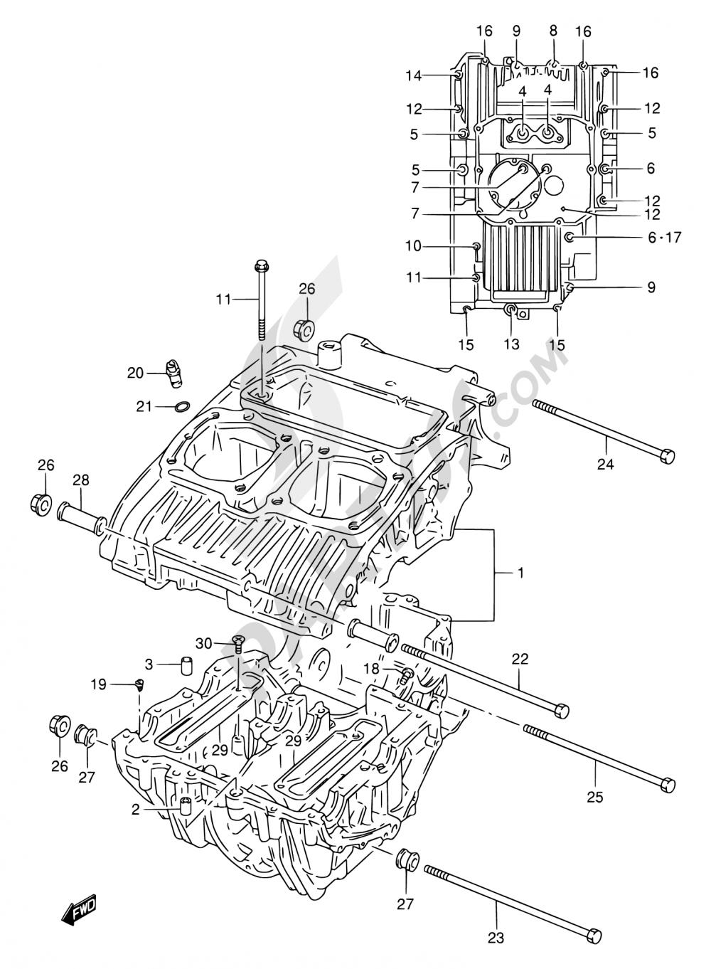 5 - CRANKCASE Suzuki GS500 2001