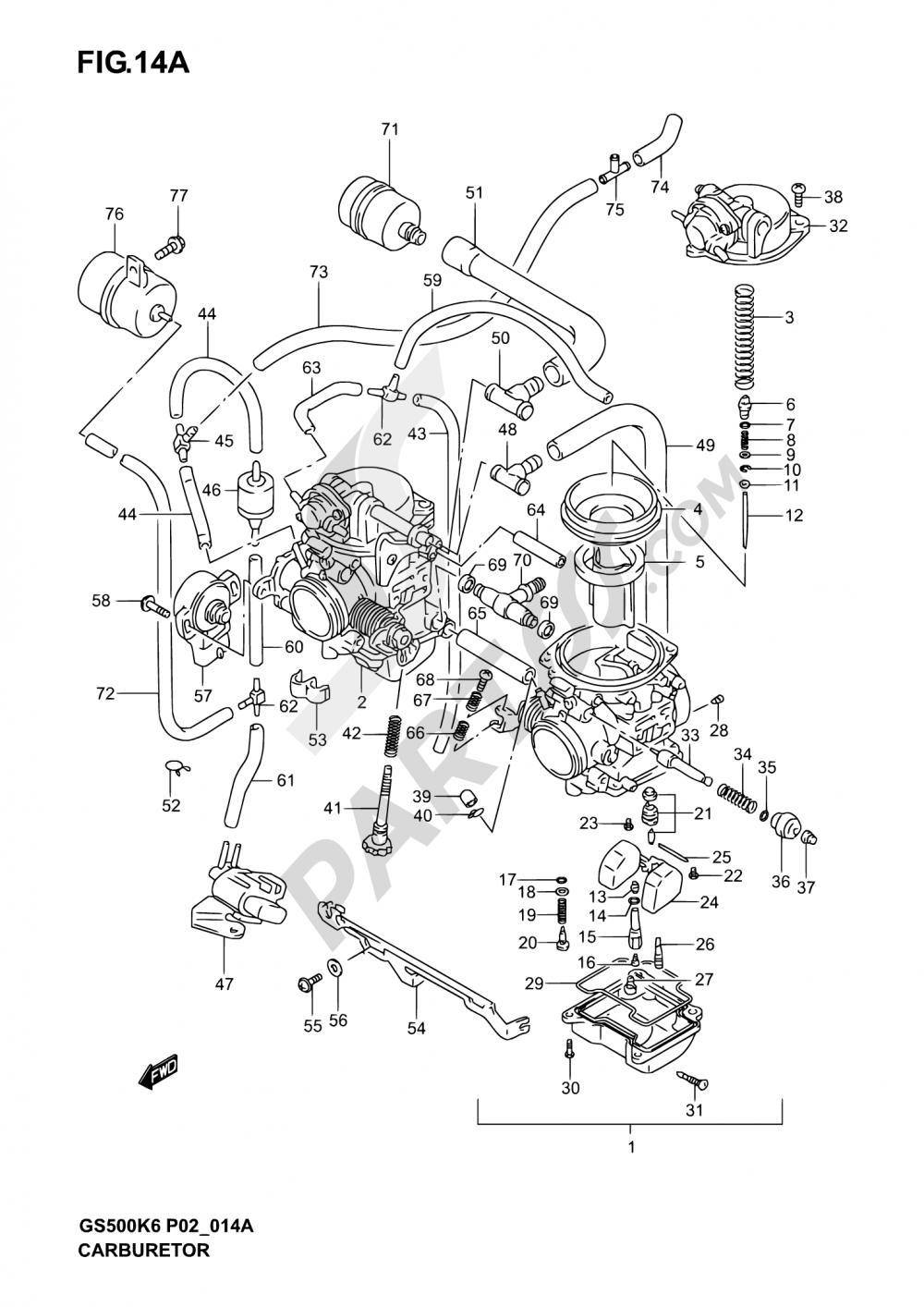 14A - CARBURETOR (MODEL K4/K5/K6) Suzuki GS500 2004