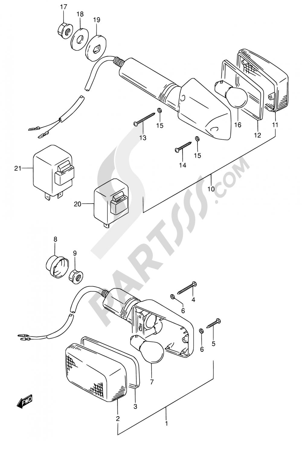 26 - TURNSIGNAL LAMP (MODEL K/L/M/N/P/R) Suzuki GS500E 1991