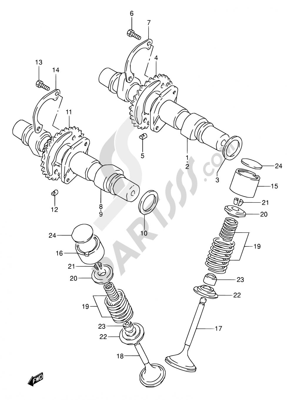 10 - CAM SHAFT - VALVE (MODEL K/L/M/N/P) Suzuki GS500E 1991