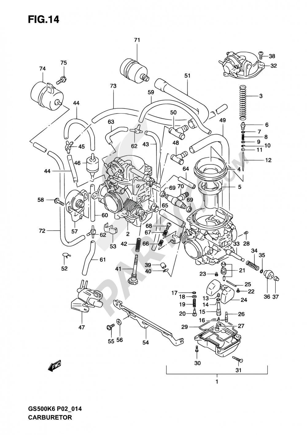 14 - CARBURETOR (GS500HK3/HUK3) Suzuki GS500F 2006