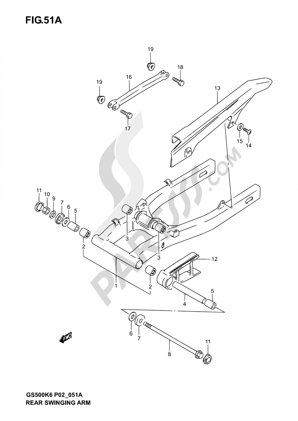 51A - REAR SWINGING ARM (MODEL K4/K5/K6) Suzuki GS500U 2004