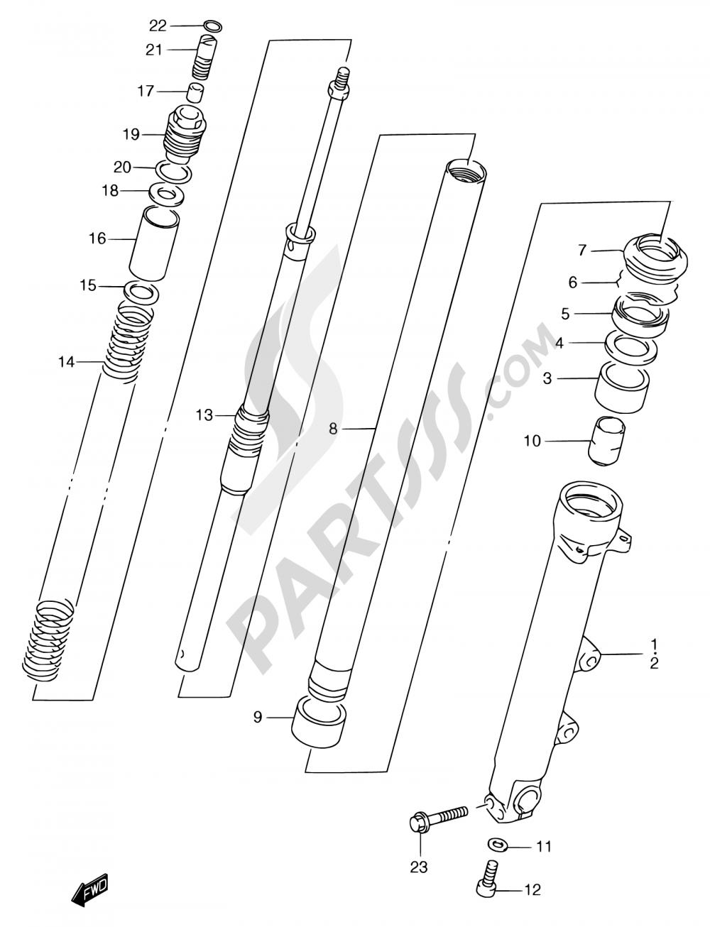 46 - FRONT DAMPER (GSF1200T/V/W/X/Y/ST/SV/SW/SX/SY) Suzuki BANDIT GSF1200 1997