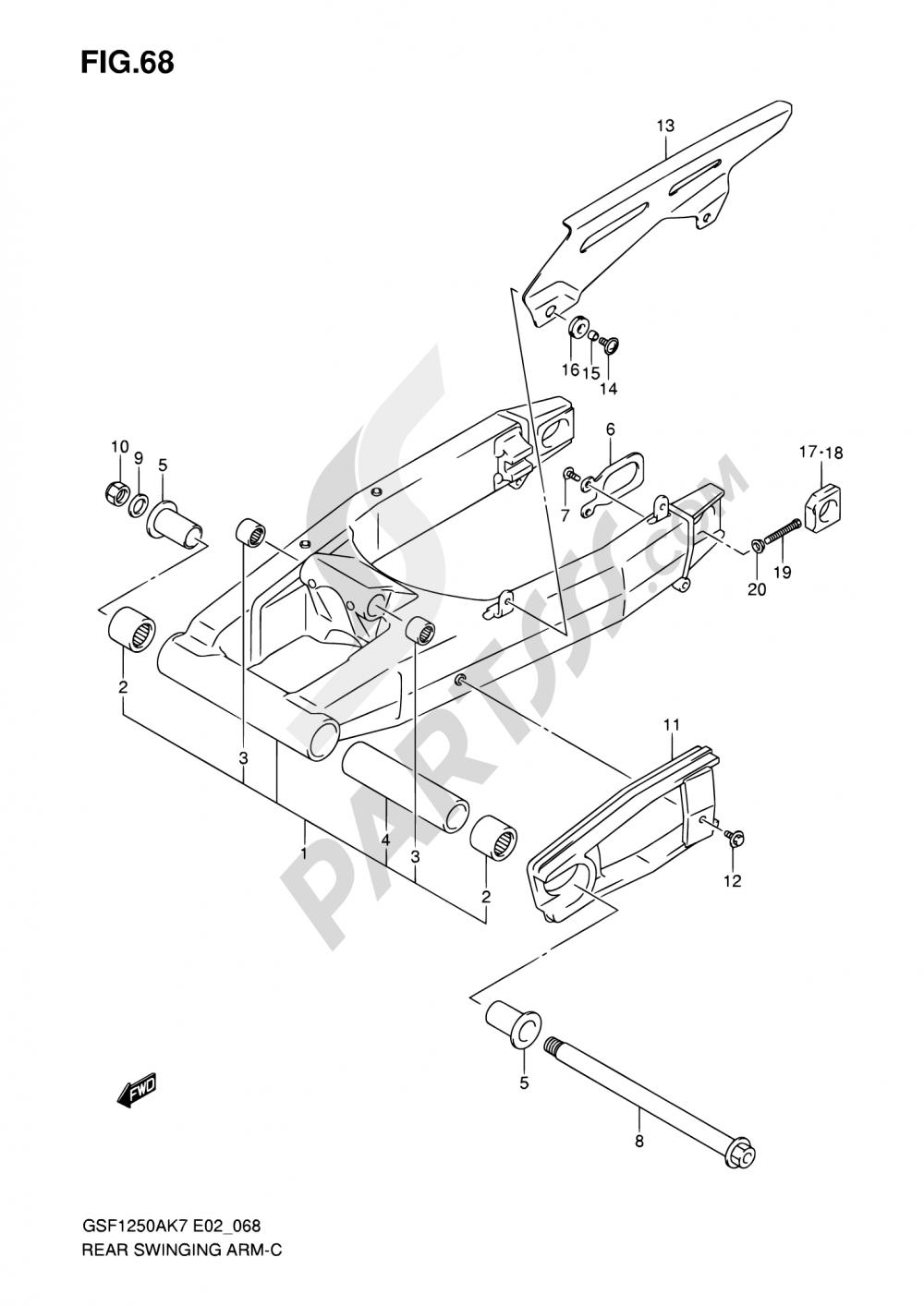 68 - REAR SWINGING ARM Suzuki BANDIT GSF1250 2007