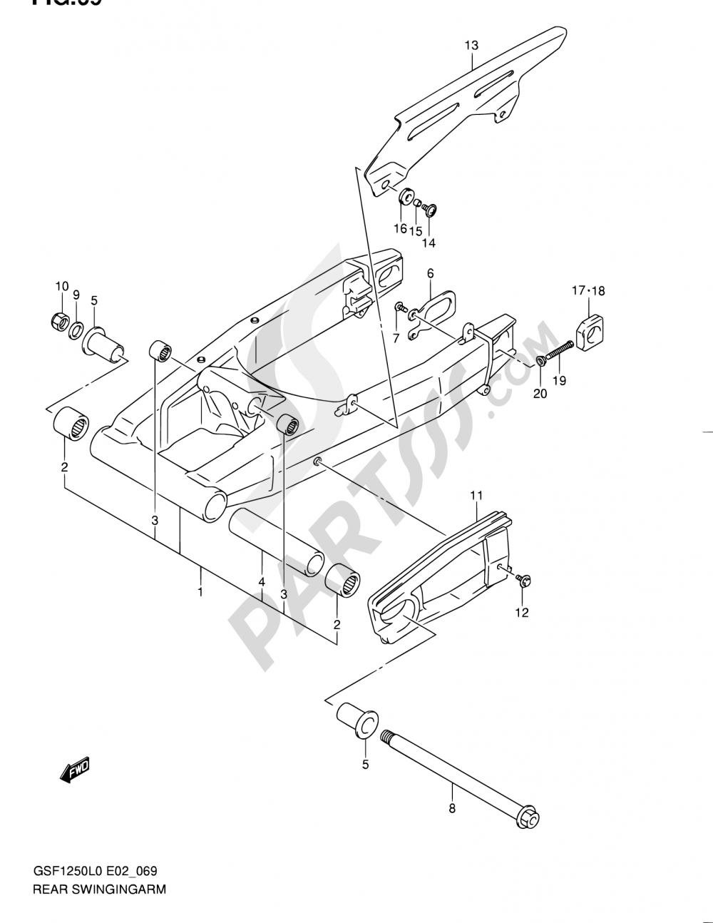 69 - REAR SWINGING ARM Suzuki BANDIT GSF1250 2010
