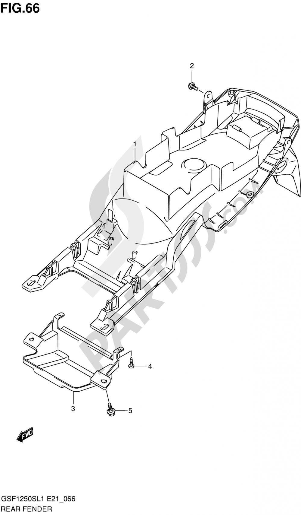 66 - REAR FENDER (GSF1250SL1 E21) Suzuki BANDIT GSF1250 2011