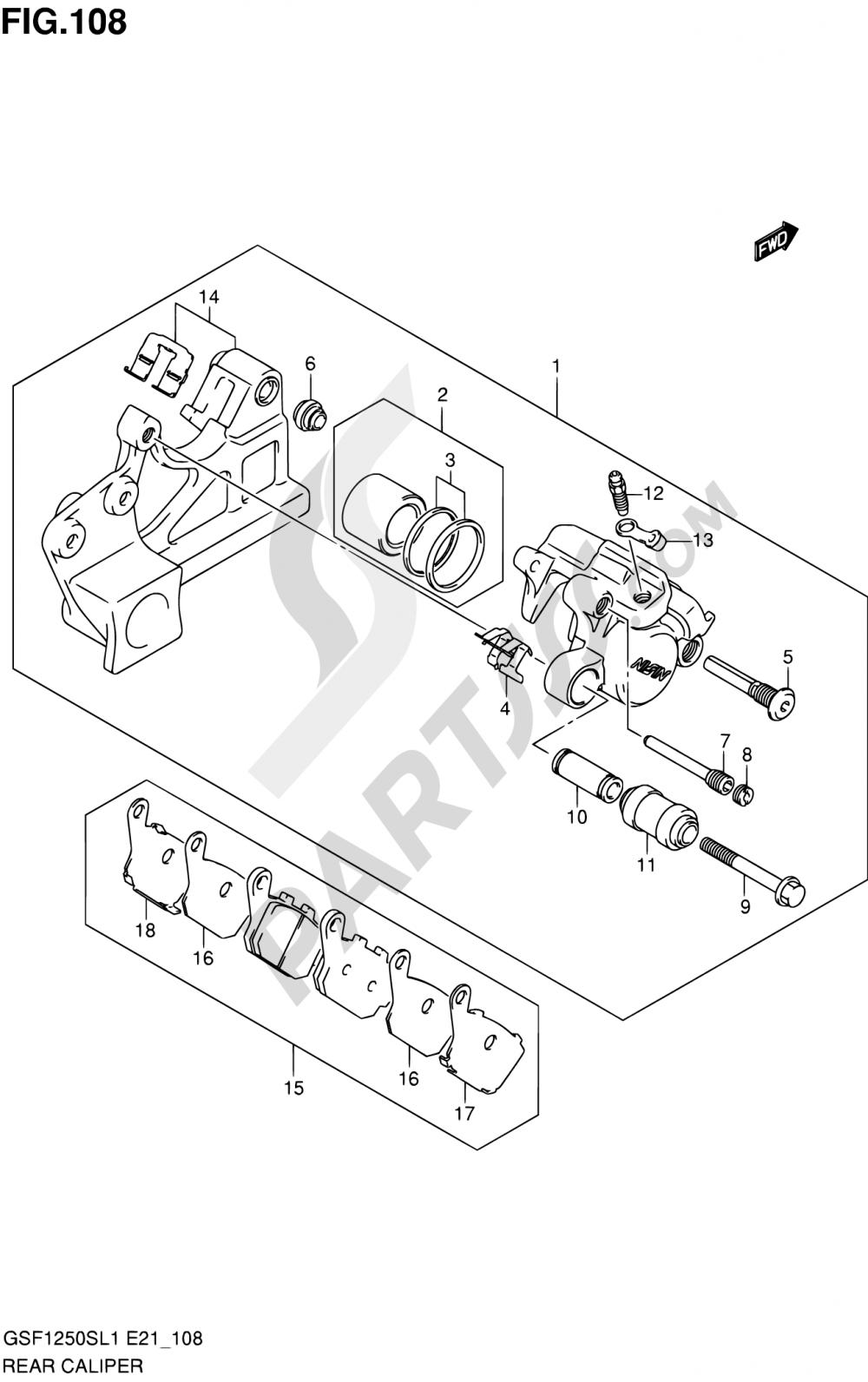 108 - REAR CALIPER (GSF1250SL1 E21) Suzuki BANDIT GSF1250 2011