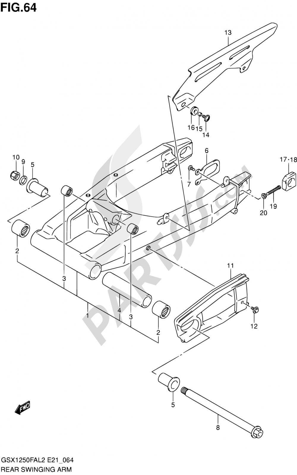 64 - REAR SWINGING ARM Suzuki GSX1250FA 2012
