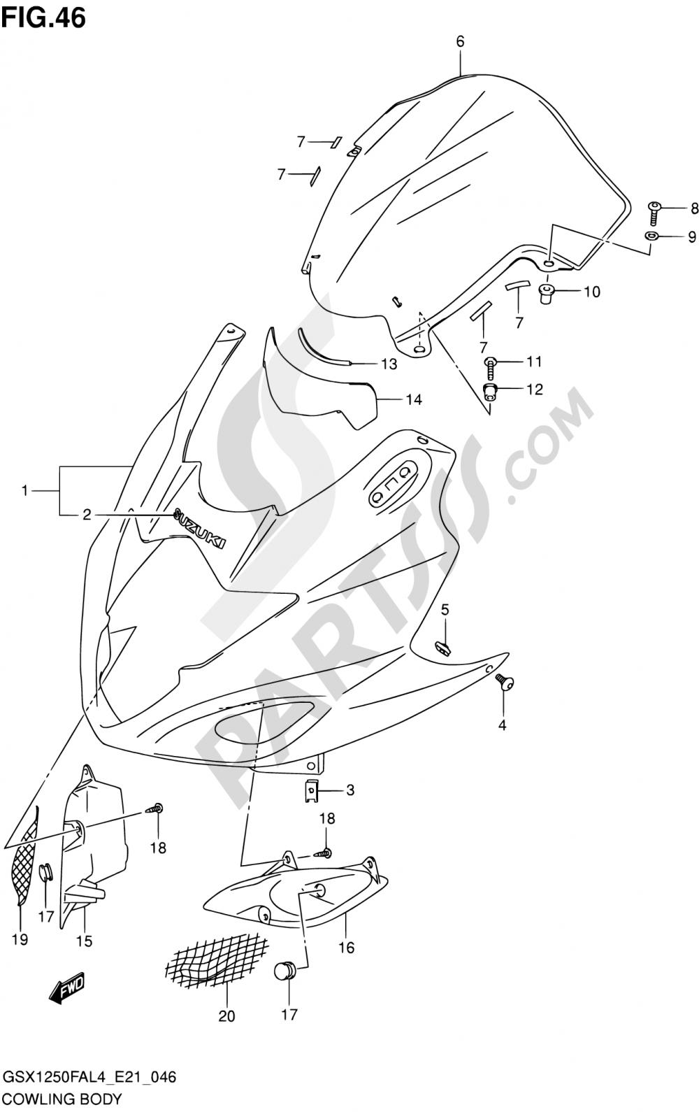 46 - COWLING BODY Suzuki GSX1250FA 2014