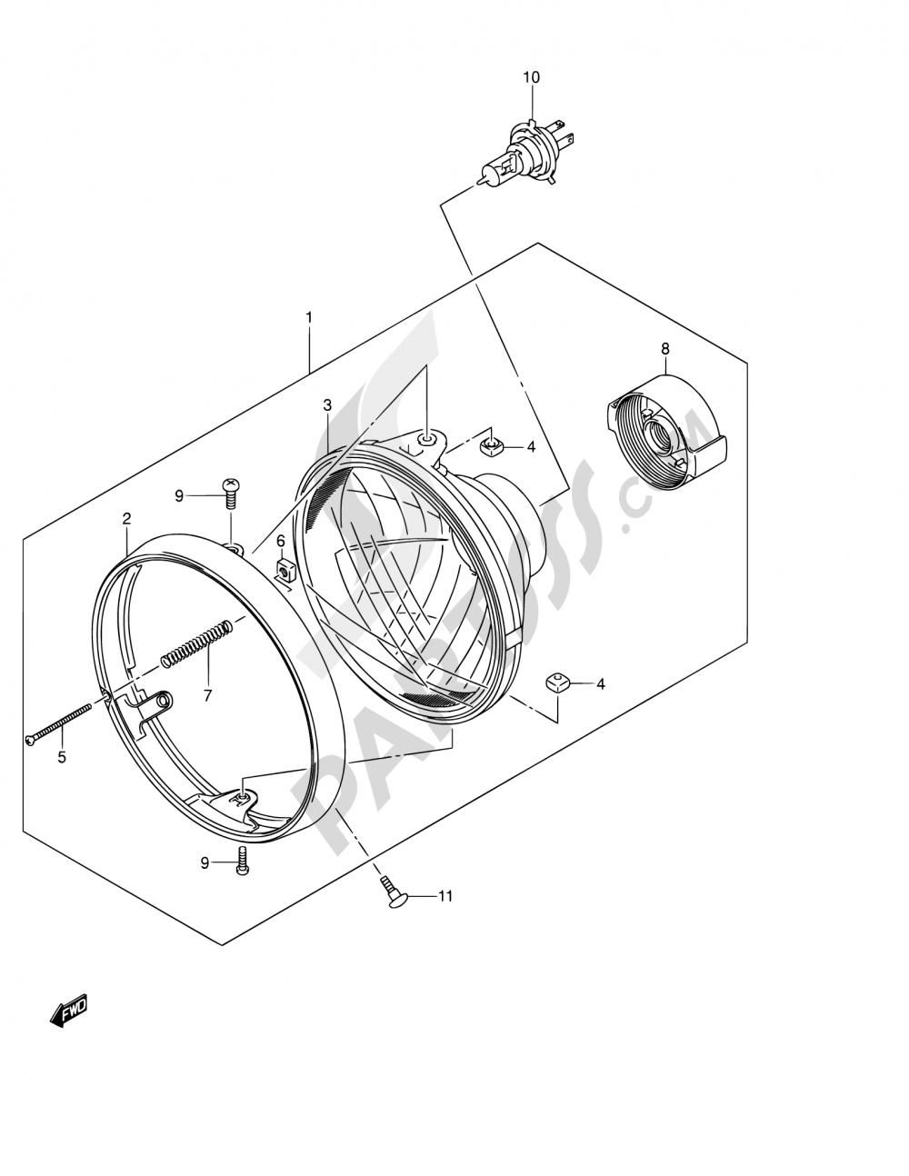 31 Headlamp Assy Gsx1400k2 K3 E24 Suzuki Gsx1400 2003 Bmw Engine Diagram
