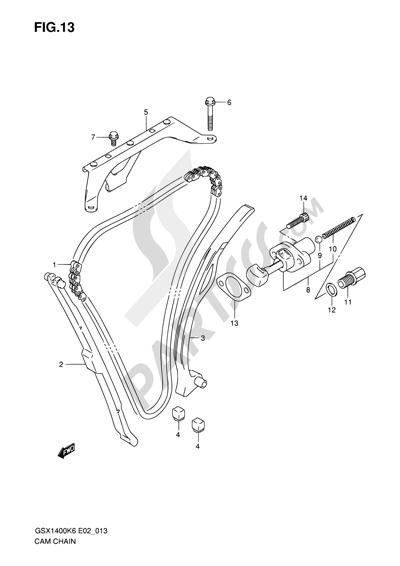 Suzuki GSX1400 2006 13 - CAM CHAIN