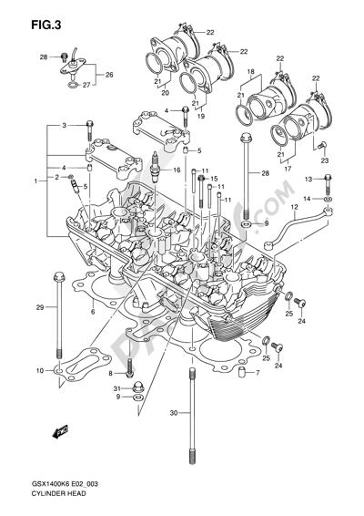 Suzuki GSX1400 2006 3 - CYLINDER HEAD