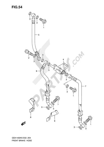 Suzuki GSX1400 2006 54 - FRONT BRAKE HOSE