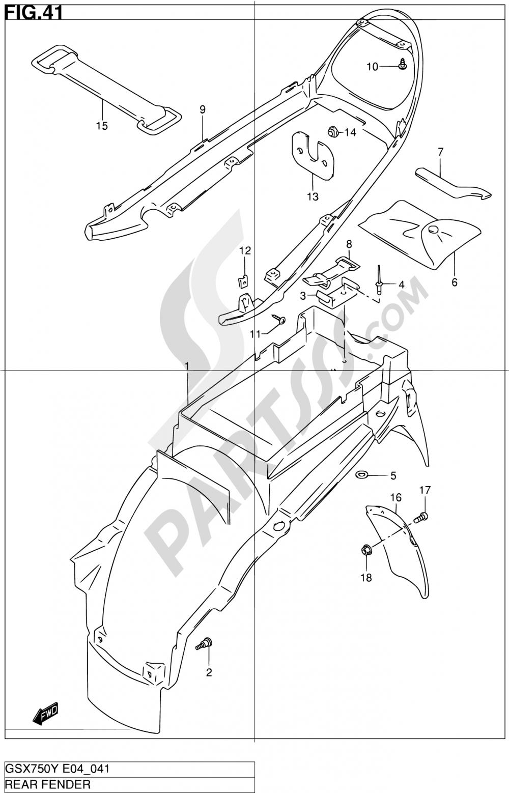 41 - REAR FENDER Suzuki GSX750 2000