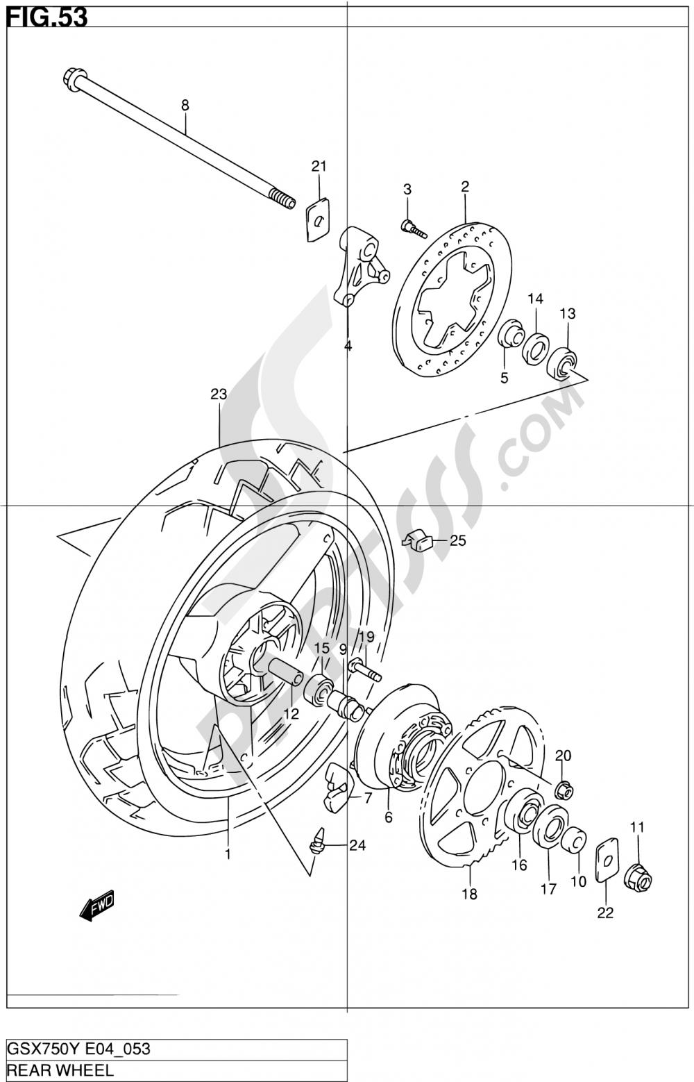 53 - REAR WHEEL Suzuki GSX750 2000