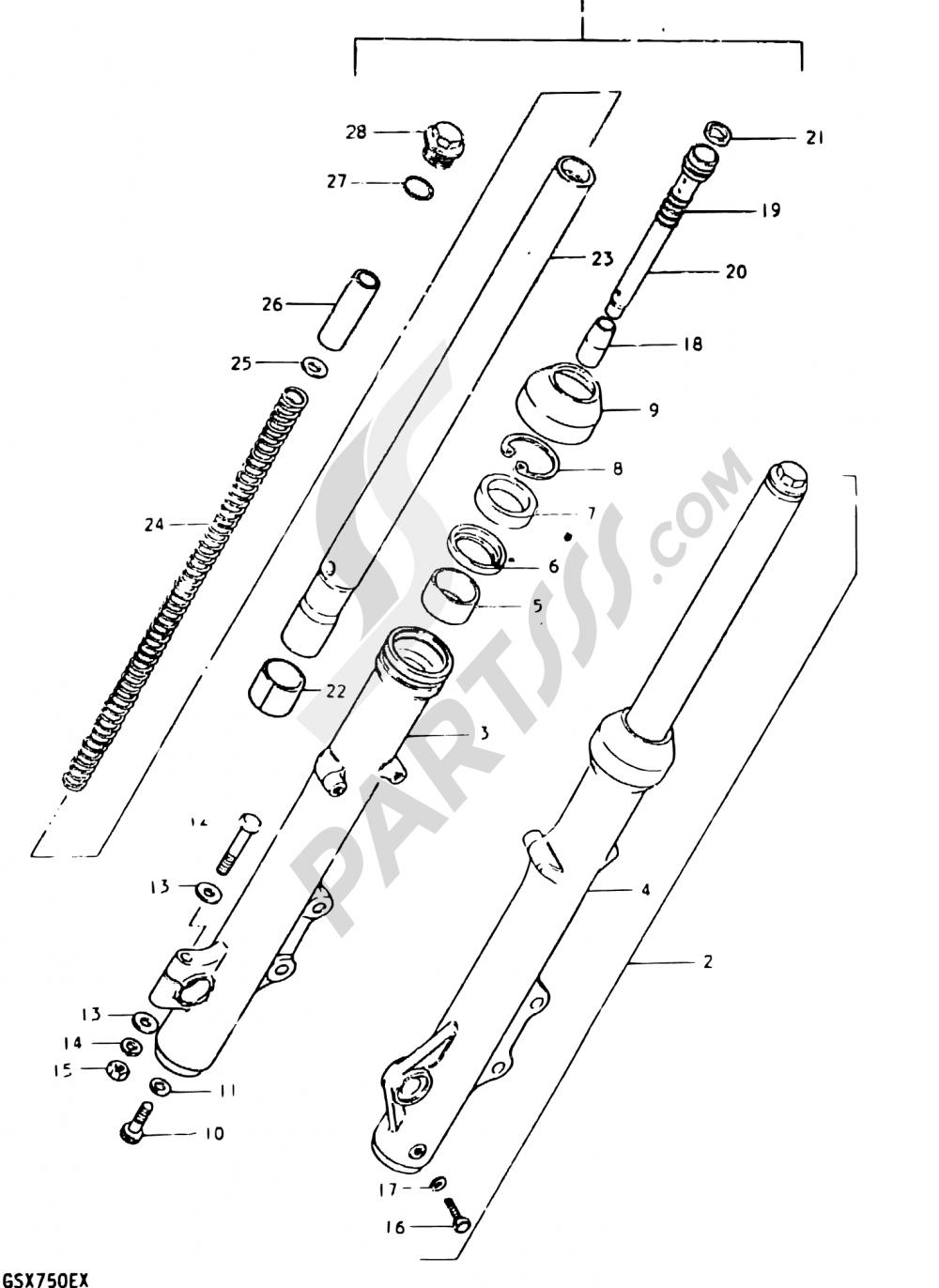 63 - FRONT FORK (GSX750ET F.NO.504682~, GSX750T F.NO.100292~) Suzuki GSX750E 1996