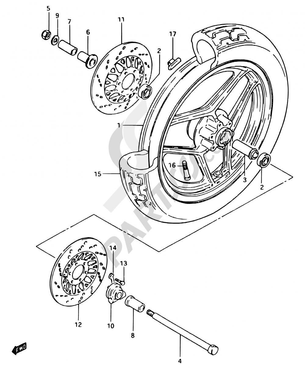 60 - FRONT WHEEL (GSX750ESE/EFE E06, E24) Suzuki GSX750ES 1984