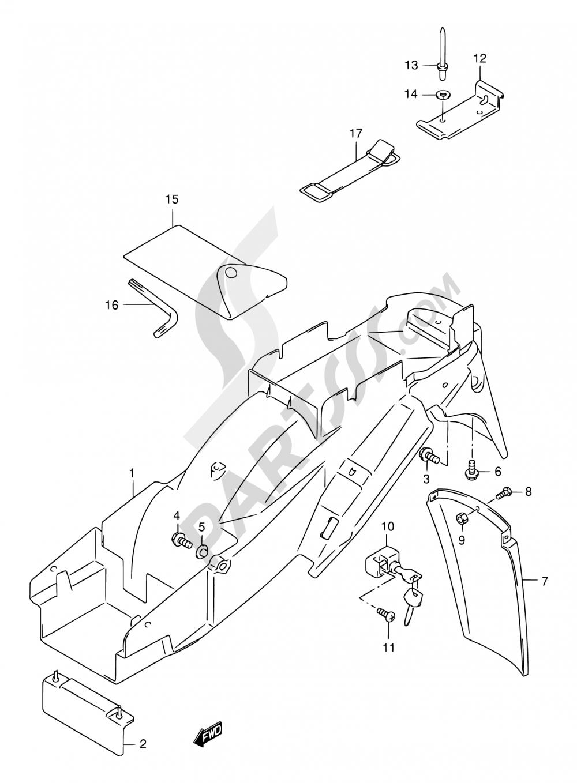 40 - REAR FENDER (MODEL W/X/Y/K1/K2) Suzuki GSX750F 2001