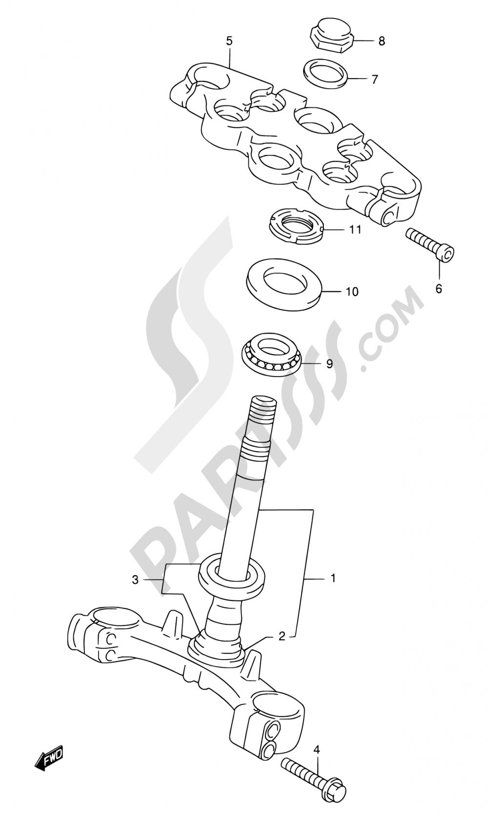 47 - STEERING STEM (MODEL W/X/Y/K1/K2) Suzuki GSX750F 2001