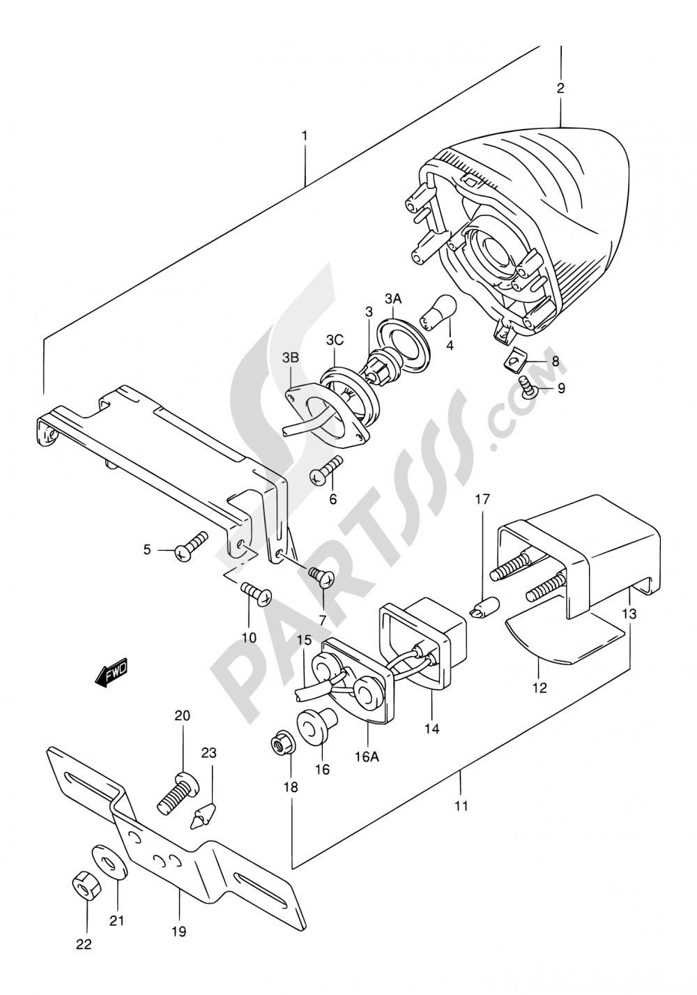 28 - TAIL LAMP (MODEL W/X/Y/K1/K2) Suzuki GSX750F 2002