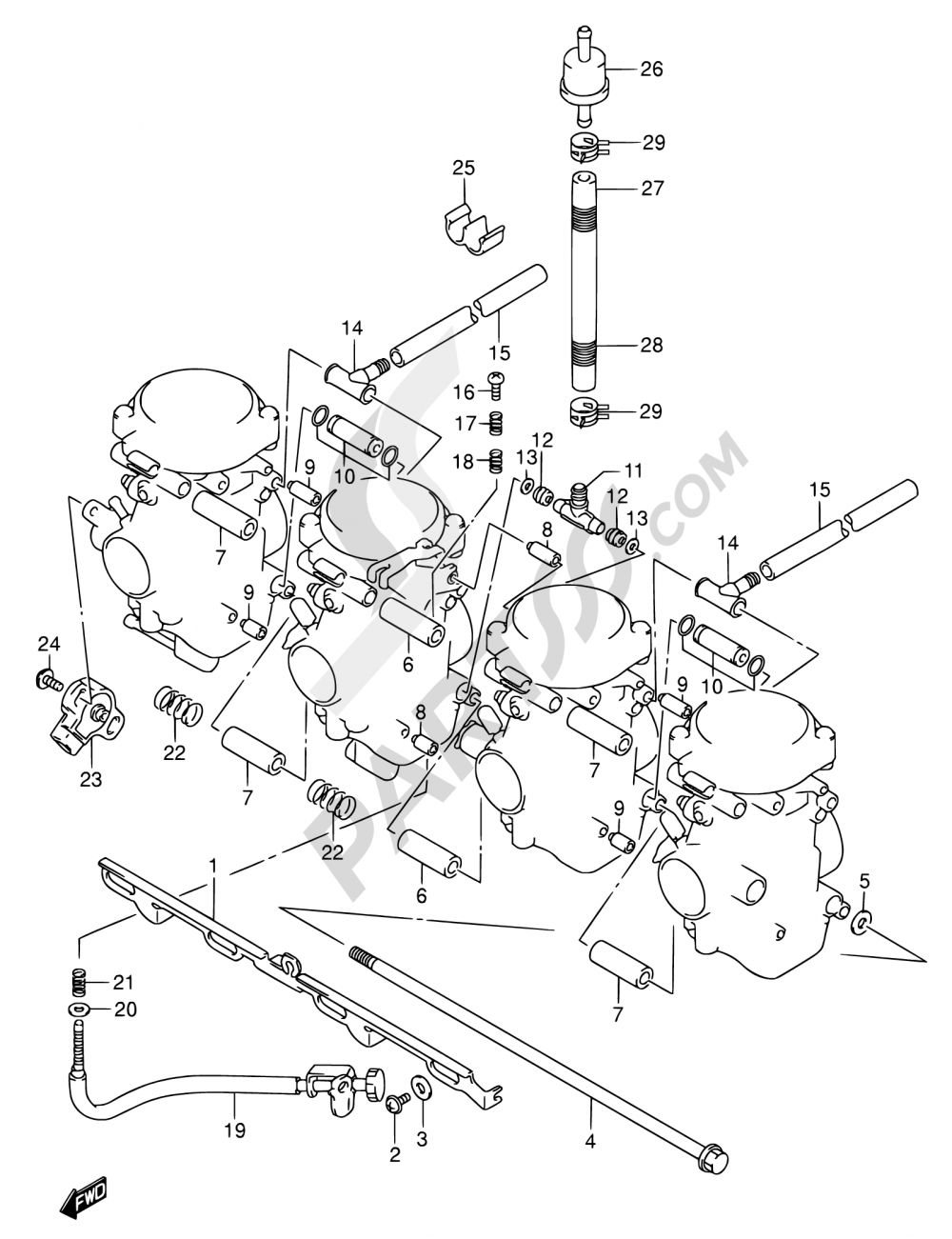 14 - CARBURETOR FITTINGS Suzuki GSX750F 2005