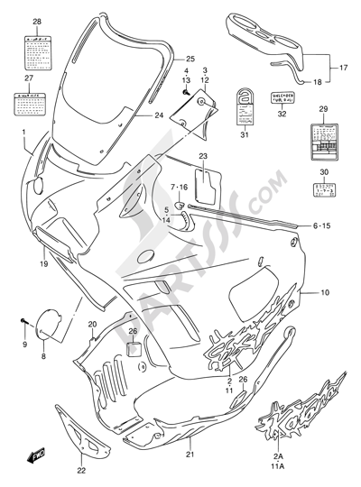Suzuki GSX750F 1994 37F - COWLING BODY (MODEL R)