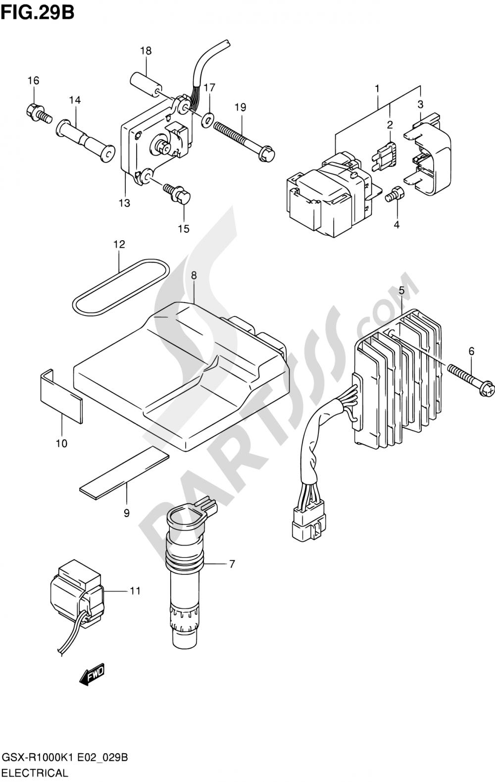29B - ELECTRICAL (GSX-R1000K1 E24) Suzuki GSX-R1000 2001